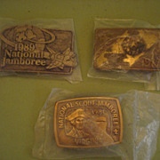 Vintage 77, 81, 89 Brass National Jamboree Belt Buckles BSA Boy Scout