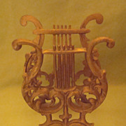 Vintage Gold Cast Iron Lyre Harp Music Stand  Magazine Rack