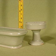 Vintage Miniature Jadite Green Ceramic Porcelain Bathroom Set
