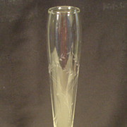 Vintage Bud Vase with Etched Glass and Sterling Silver Base Duchin Creation