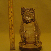 Vintage Glass Bulldog Candy Container with Original Tin Lid