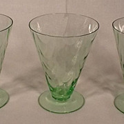 Rare Set of 3 Vintage Fostoria Green Optic Loop Footed Tumblers