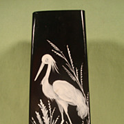 Stunning Vintage Black Glass Enamel Heron Vase