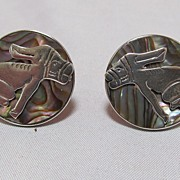 Vintage Sterling & Abalone Earrings