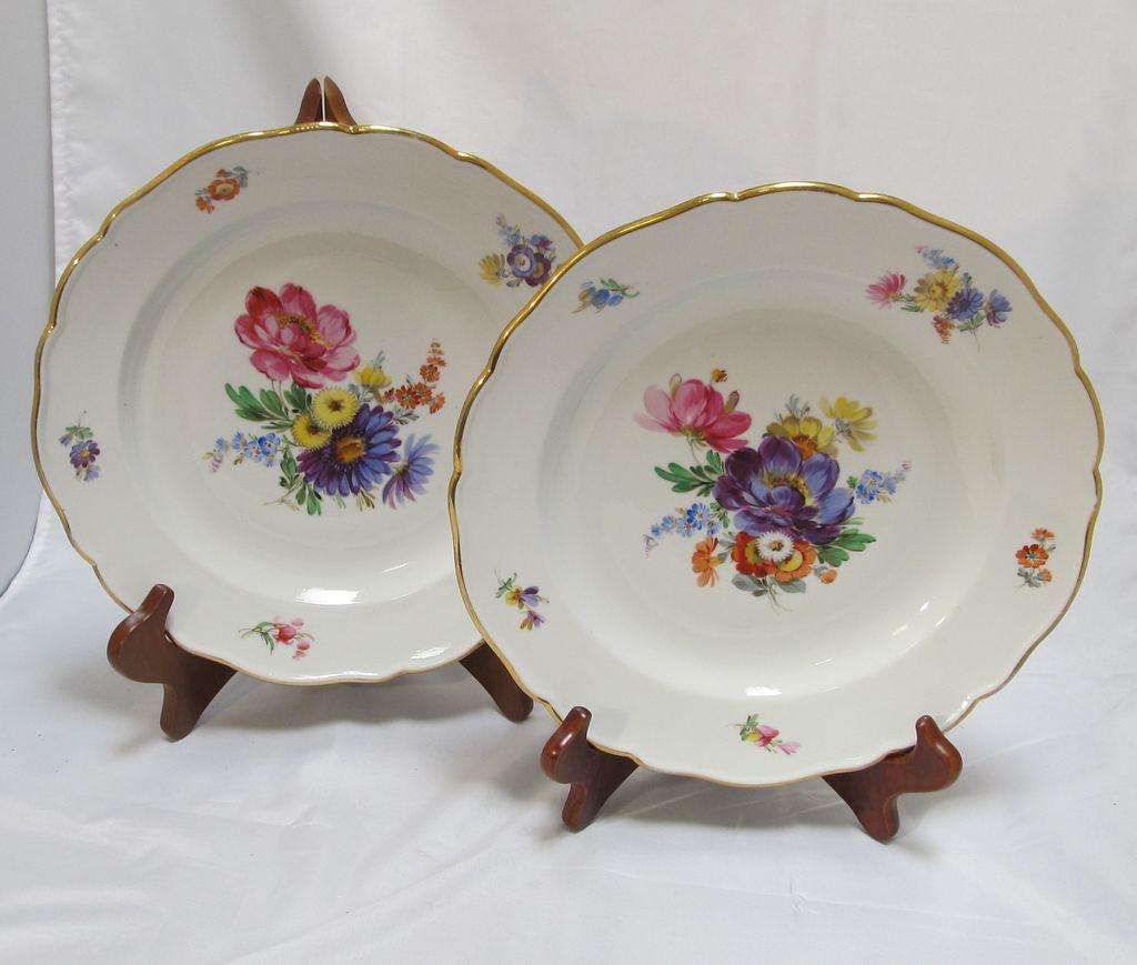 Meissen Keramik: Pair Meissen Floral Plates From Thesteffencollection On