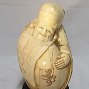 Chinese Bone Shoulao Carved & Scrimmed Figure