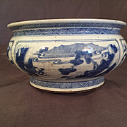 SALE Antique Chinese Kangxi Circa 1690  Washer or Bulb Bowl