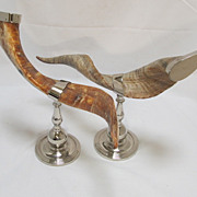 Pr African Animal Horns mounted on Chrome  Stands