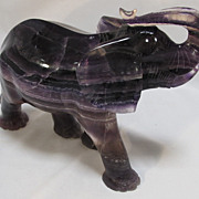 Large Purple  Fluorite Chinese Carving of an Elephant
