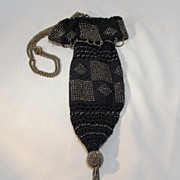 Early Crochet Beaded Marcasite Long Bag