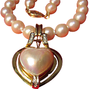 14 K Mabe Pearl/ Diamond Pendant &  Pearl Necklace