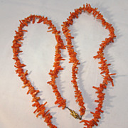 37 Inch Orange Coral Necklace
