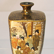 REDUCED Antique Satsuma Miniature Square Vase
