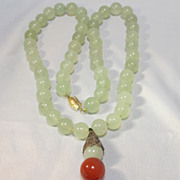 SALE Jade Pendant Necklace Sterling Ornaments