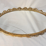 Mirrored Plateau Gilt Trim Roses