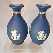 Antique Miniature Wedgwood Jasper Vases