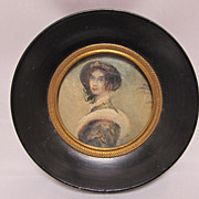 Antique Miniature Watercolor Portrait Classical Figure