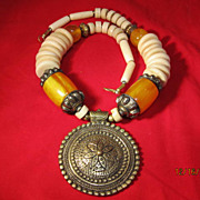 Tribal Brass & Amber Bone Necklace