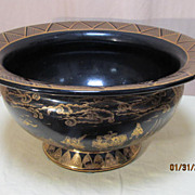 Large Gilt Black Glass Chinese Bowl