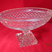 Vintage Cut Crystal Oval Bowl