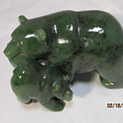 Eskimo Carved Jade Polar Bears