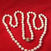 Chinese White Coral Bead Necklace