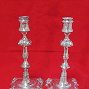 Antique English Sheffield Georgian Style Silver Plate Candlesticks