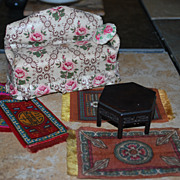 SALE Mixed Lot of Miniature Dollhouse Furniture and Accessories - Tobacco Rugs