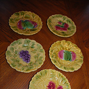 Set of 5 French Majolica Plates - Utzchneider & Co Sarreguemines
