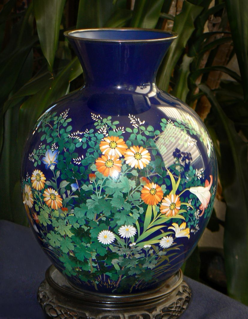 Large Japanese Cloisonne Enamel Vase - Ando