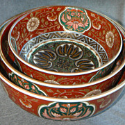 Fine Set Japanese Imari Porcelain  Nesting Bowls- Meiji