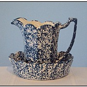 McCoy Spongeware Pitcher & Bowl Blue Country Line