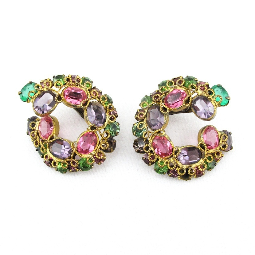 Gorgeous Twisted Rope Jeweled Rhinestone Clip Earrings
