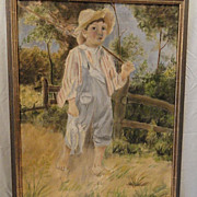 Primitive Oil Painting of Country Boy with Fish 20th C.