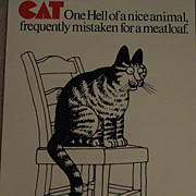 B.Kliban Cat Mistaken as Meatloaf Poster 1977