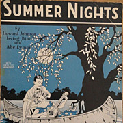 Vintage Sheet Music Summer Nights 1925