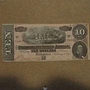 Civil War Confederate States Currency $10 Note 1864 Original