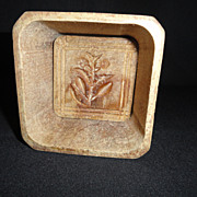 Square Wooden Butter Mold With Flower Design