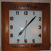 Goodyear Tubeless Tires Advertising Lighted Clock 20th C.