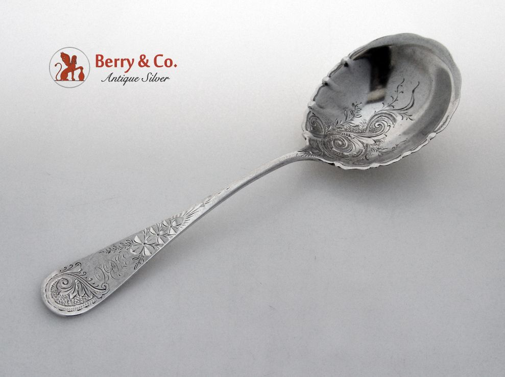 Antique M-2 Engraved Berry Spoon Whiting 1884 Sterling Silver Bright Cut Monogram HBO