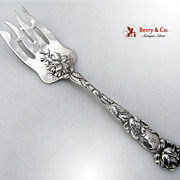 Bridal Rose Large Cold Meat Fork Alvin Sterling Silver 1903