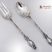Lily Large Salad Serving Spoon Sterling Silver 1902