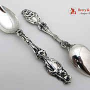 Lily Pair of Oval Soup or Dessert Spoons sterling Silver Whiting 1902