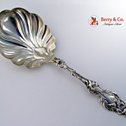 SALE Lily Large Berry Spoon Sterling Silver Whiting 1902 Mono N