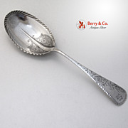 Antique Wheat Engraved Large Berry Spoon Vanderslice Sterling Silver 1882