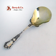 Baronial Old  Salad Berry Spoon Scroll Bowl Gorham Sterling Silver 1898 No Monogram