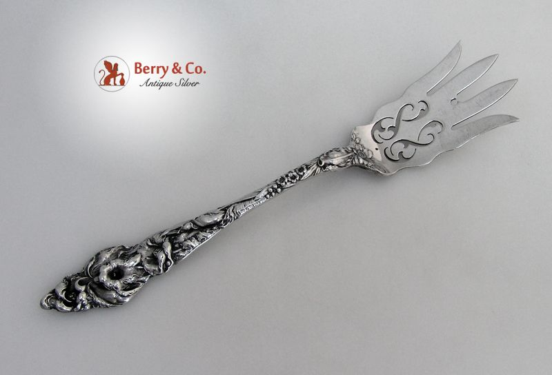 Les Six Fleurs Chipped Beef Fork Reed and Barton Sterling SIlver 1901 Monogram M