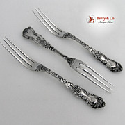 Imperial Chrysanthemum Strawberry Forks 3 Gorham Sterling Silver 1894 Monogram S