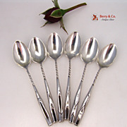Aesthetic Demitasse Spoons 6 Folded Leaf Twist Handle Frank Whiting 1900 Sterling Silver