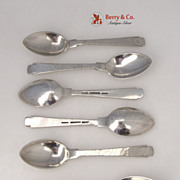 Porter Blanchard Demitasse Spoons 6 Hand Made Hammered Sterling SIlver